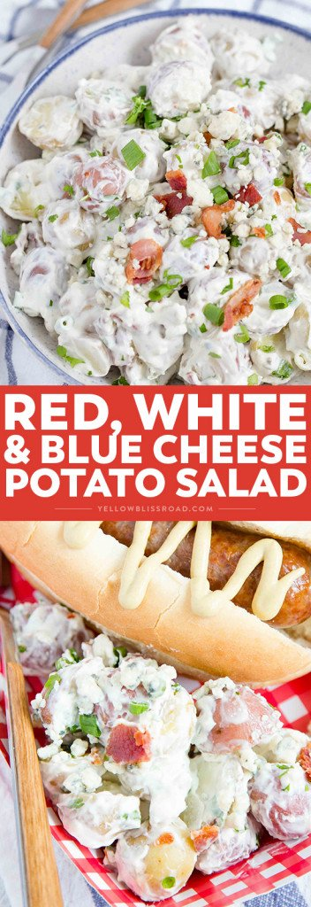 Social media image of Red, White, and Blue Cheese Potato Salad
