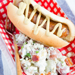 Red, White and Blue Cheese Potato Salad & Grilled Sausages