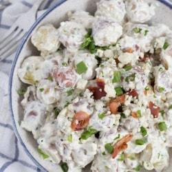 A close up of potato salad