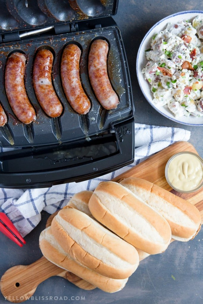 Delicious Brats with Red, White and Blue Cheese Potato Salad! The new Johnsonville Sizzling Sausage Griller is the perfect gift for Dad this Father's Day! (ad)