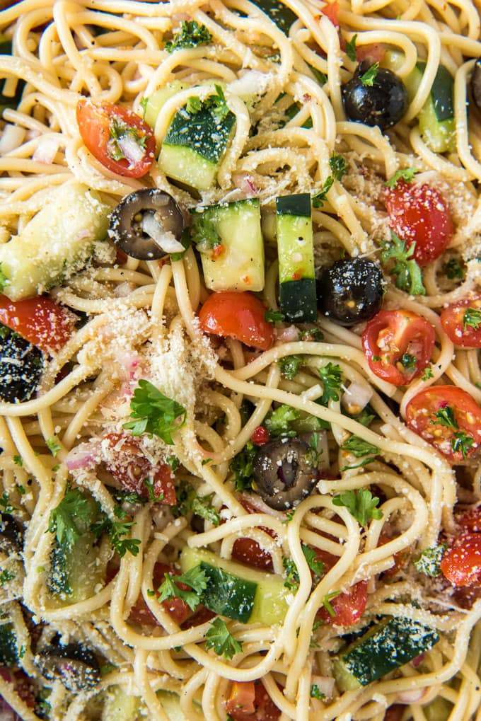 Spaghetti Salad with cucumbers, tomatoes, olives and cheese
