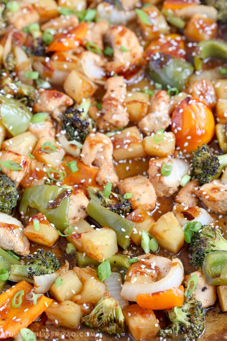 This Teriyaki Barbecue Pineapple Chicken Sheet Pan Dinner is a quick and easy meal that's sweet and savory and gets dinner on the table in minutes!