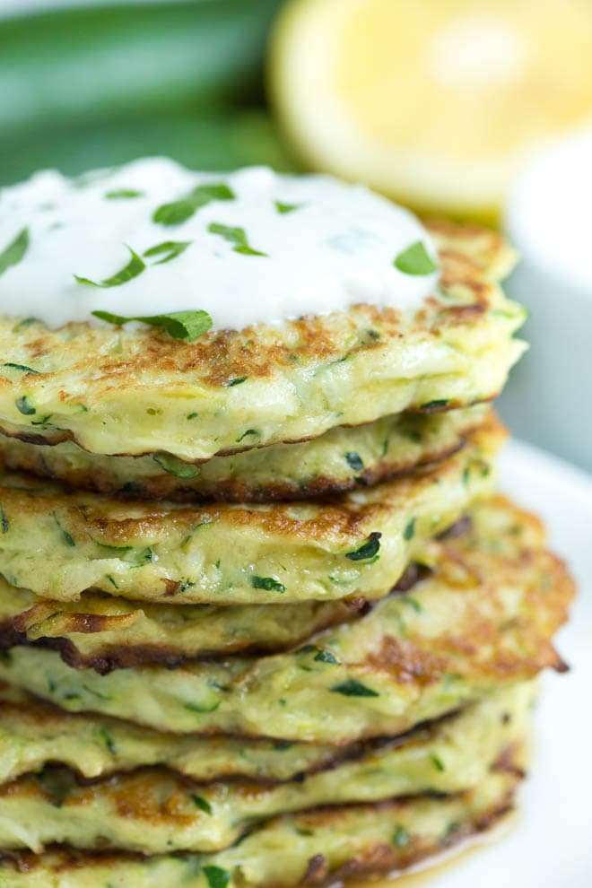 A close up of Zucchini fritters