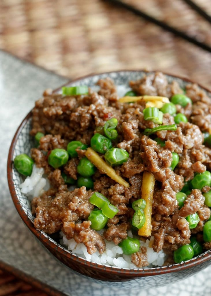 A bowl of rice and Korean beef