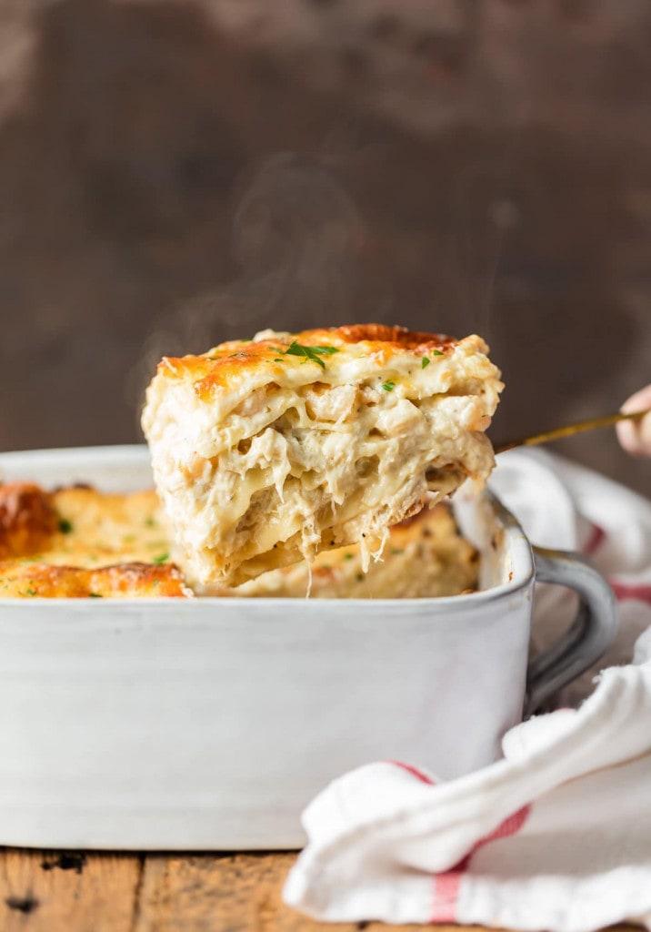 A close up of a piece of lasagna