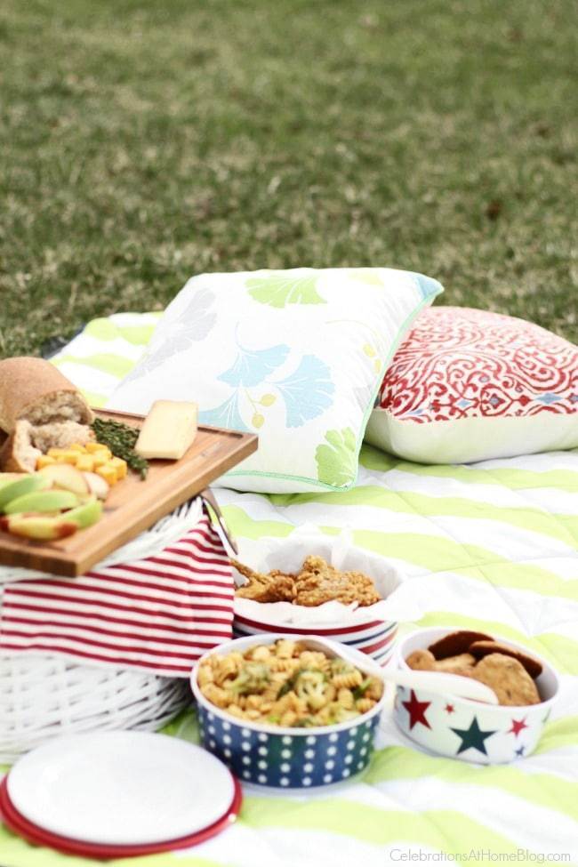 A picnic in the grass with blanket, pillows, and food
