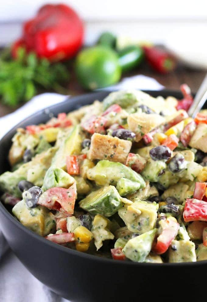 A bowl of chicken avocado salad