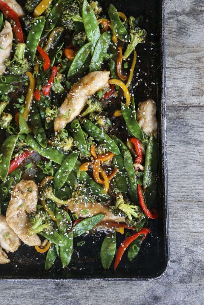 A pan of chicken and veggies