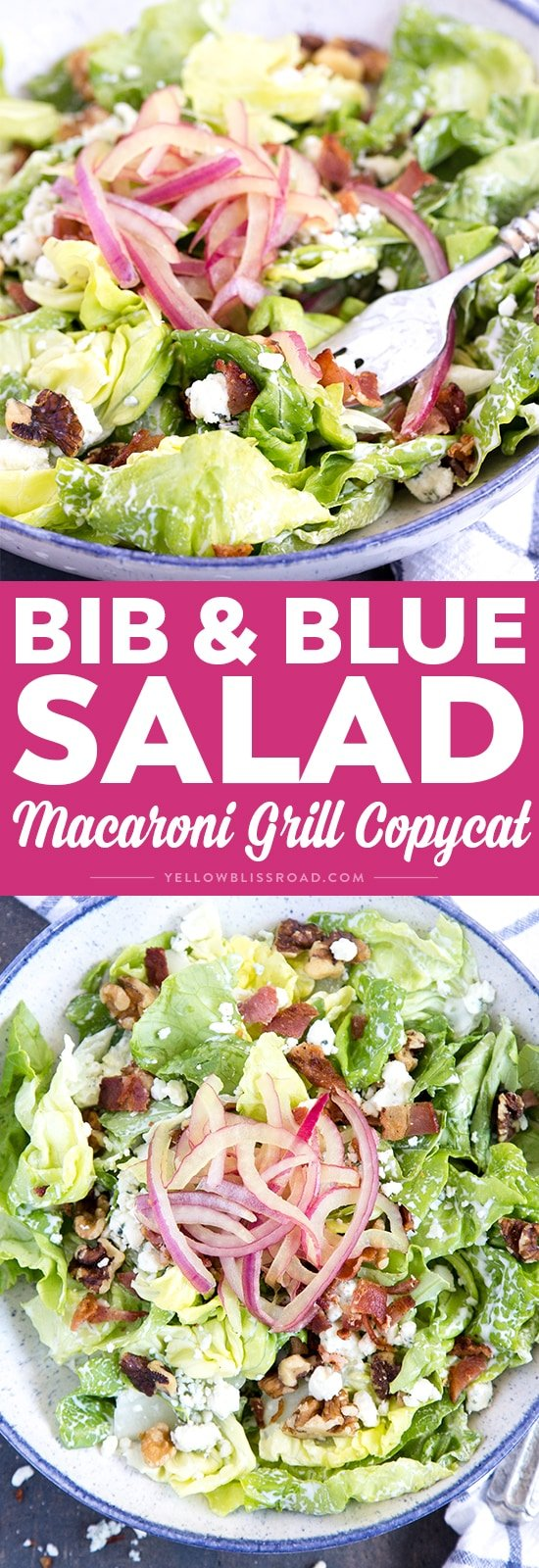 Bib & Blue Salad with blue cheese, walnuts, pickled red onions and bacon. (Macaroni Grill copycat)