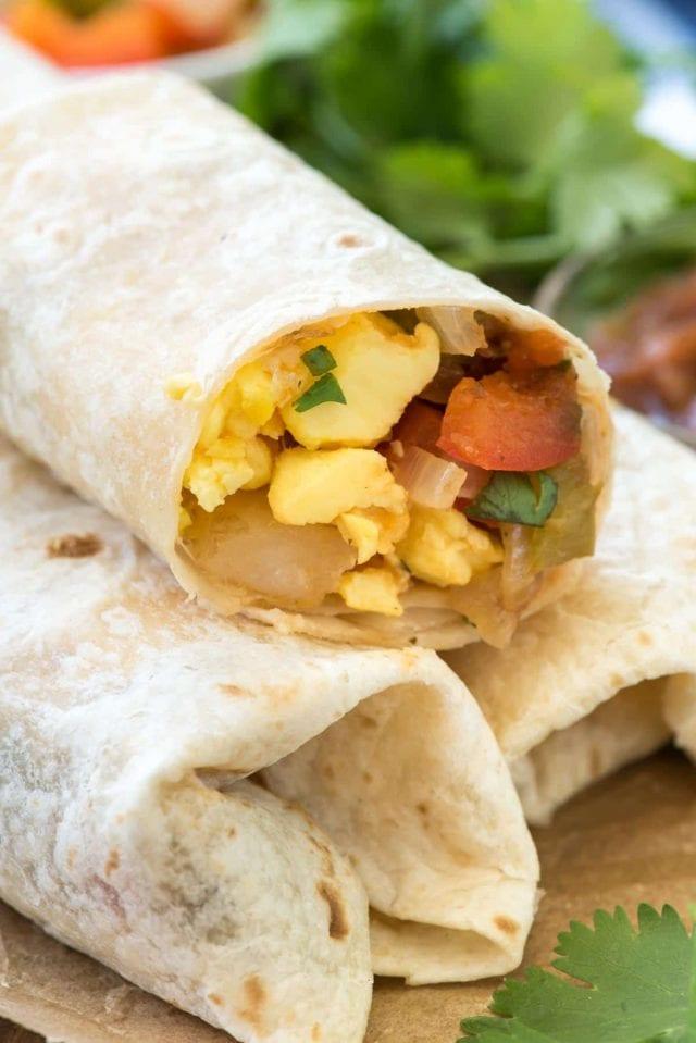 A close up of a breakfast burrito