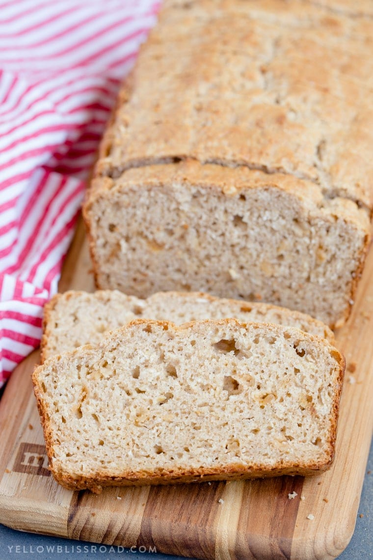 Easy Honey Oat Quick Bread; no-yeast, no-knead recipe made with oats and whole wheat and sweetened with honey. Easy quick bread, great side dish.
