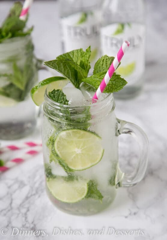 A glass of mojitos on a table