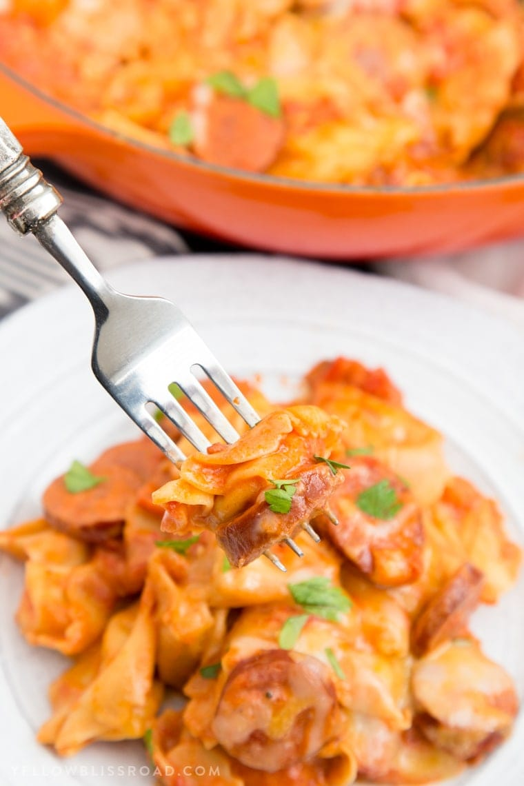 Creamy One Pan Tortellini and Smoked Sausage is a quick and delicious meal that combines tender, cheese-filled pasta with smokey sausage in a creamy sauce.