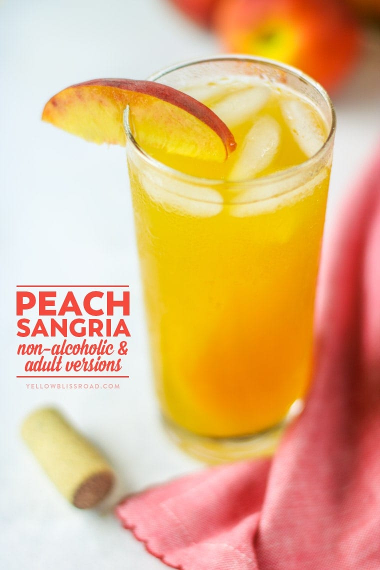 This Peach Sangria is the perfect thing to keep your whole family refreshed this summer, with both non-alcoholic and adult versions.