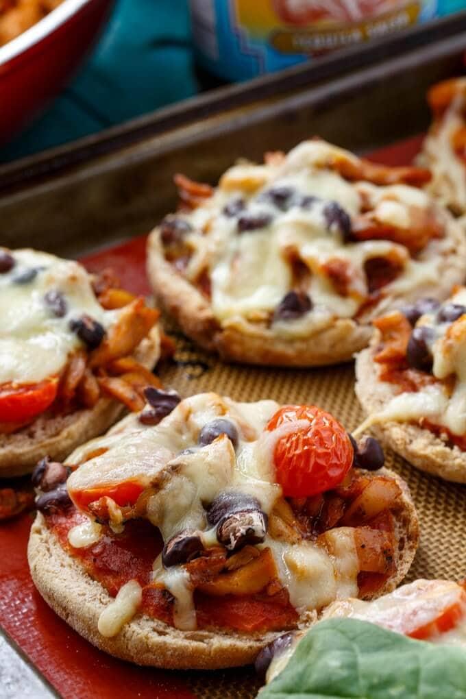 A close up of mini pizzas