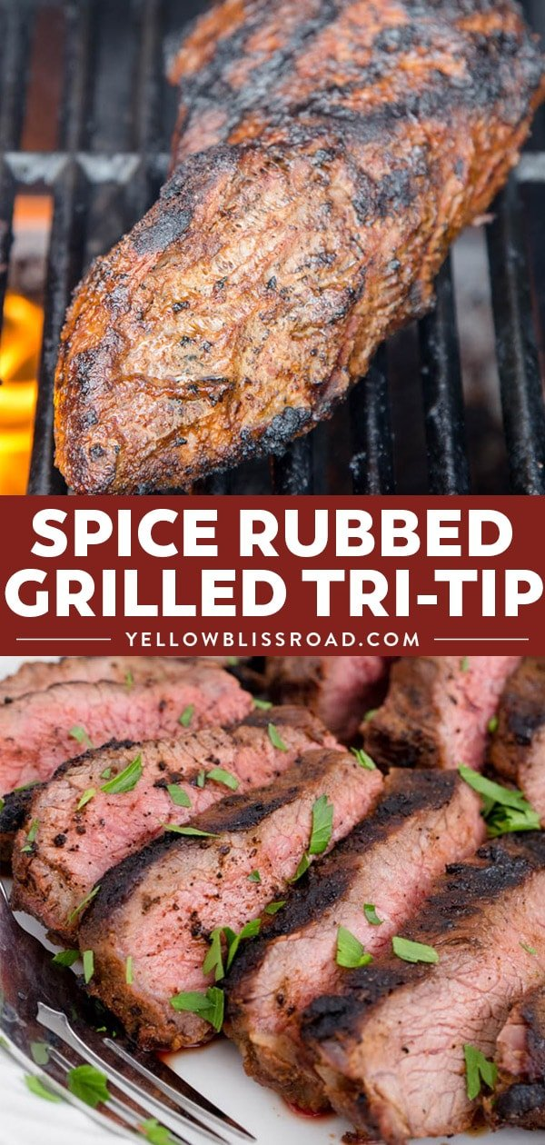 Spice rubbed grilled tri-tip collage.