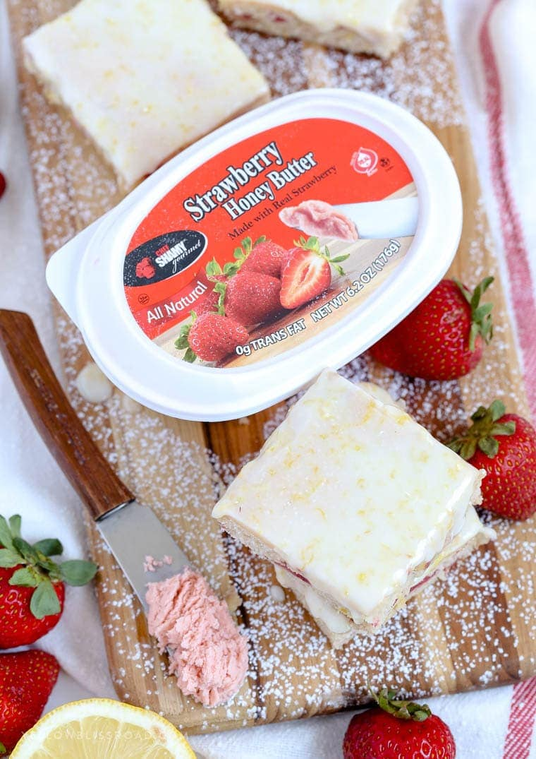 My Strawberry Lemon Bars are creamy and tart, made with fresh strawberries, fresh lemon juice and zest and Chef Shamy Strawberry Honey Butter. (ad)