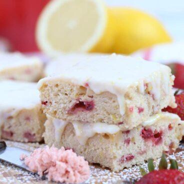 A close up of Strawberry Lemon Blondies