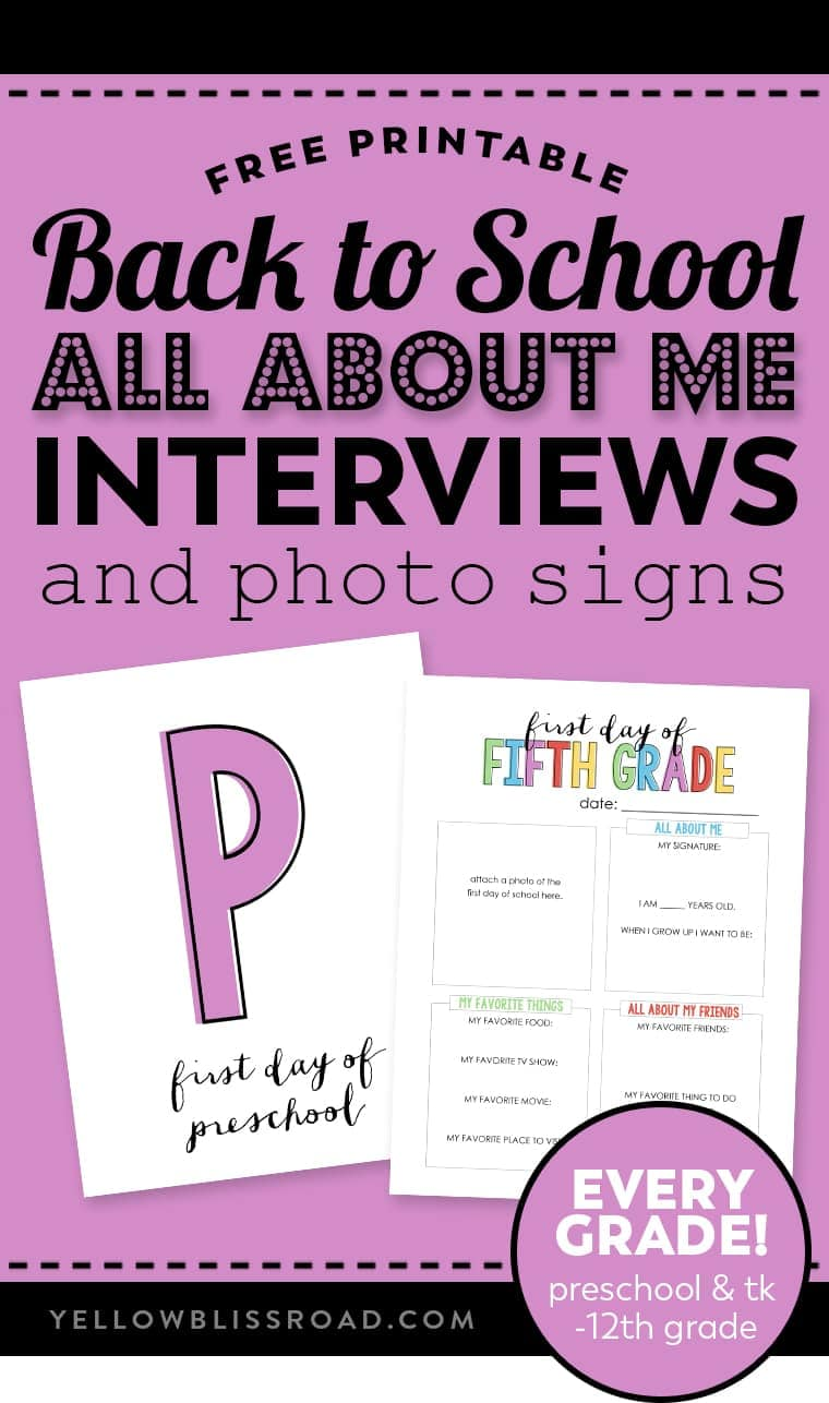 """Free printable \""""all about me interviews\"""" for back to school"""
