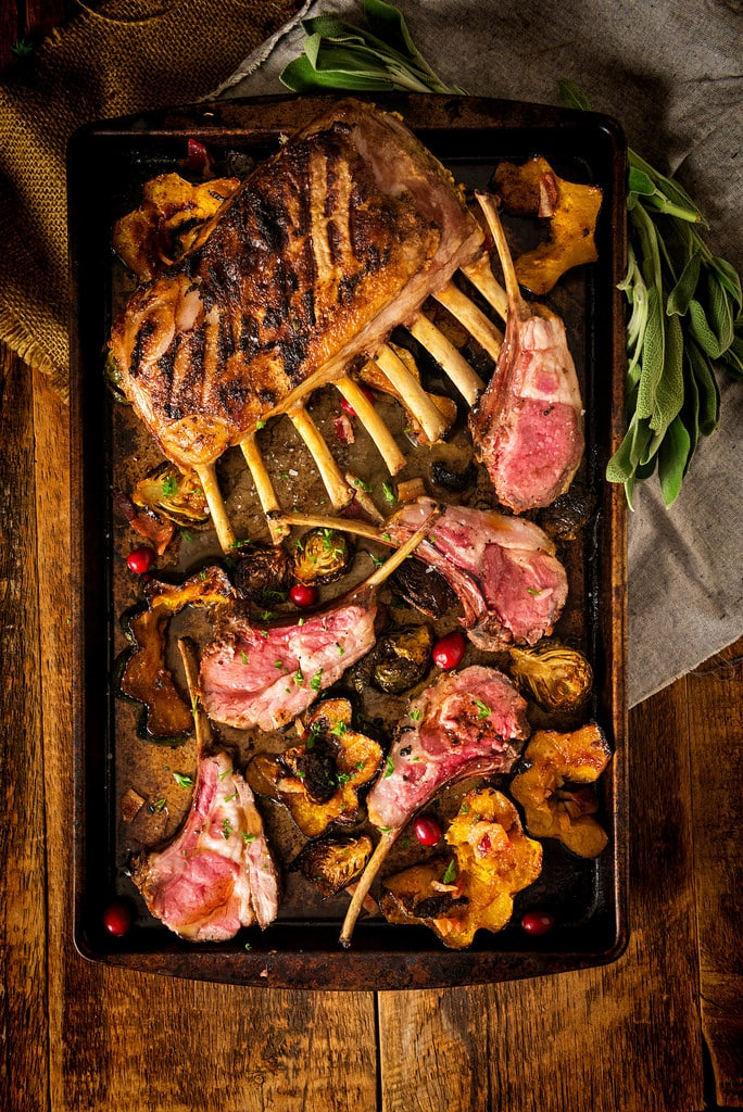 A pan with rack of lamb