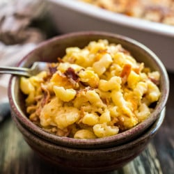 This Bacon Ranch Mac and Cheese is perfect for game day but quick enough to enjoy on a busy weeknight!
