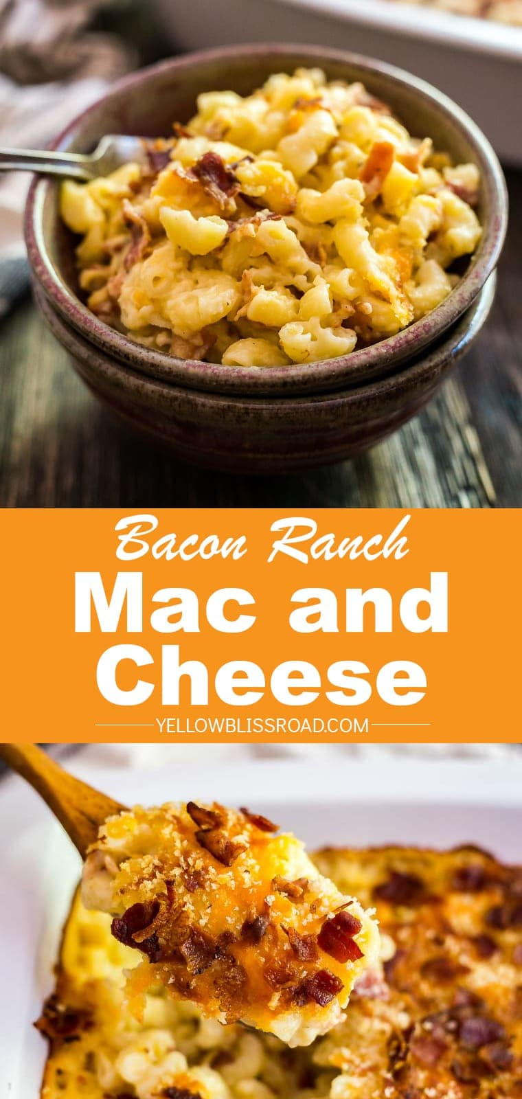 Bacon Ranch Mac and Cheese- a little smoky, a little zesty and super comforting and delicious. This is perfect for game day but quick enough to enjoy on a busy weeknight!