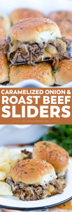 Social media image of Caramelized Onion and Asiago Roast Beef Sliders
