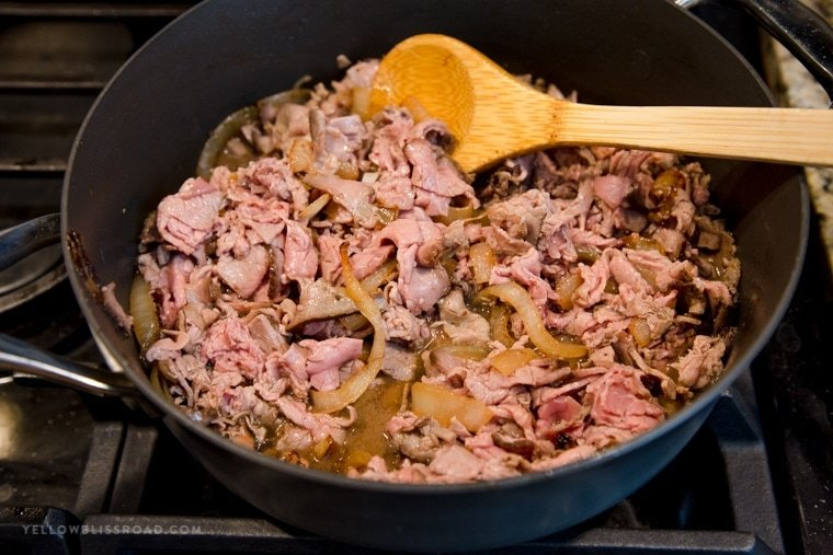 A pan with roast beef