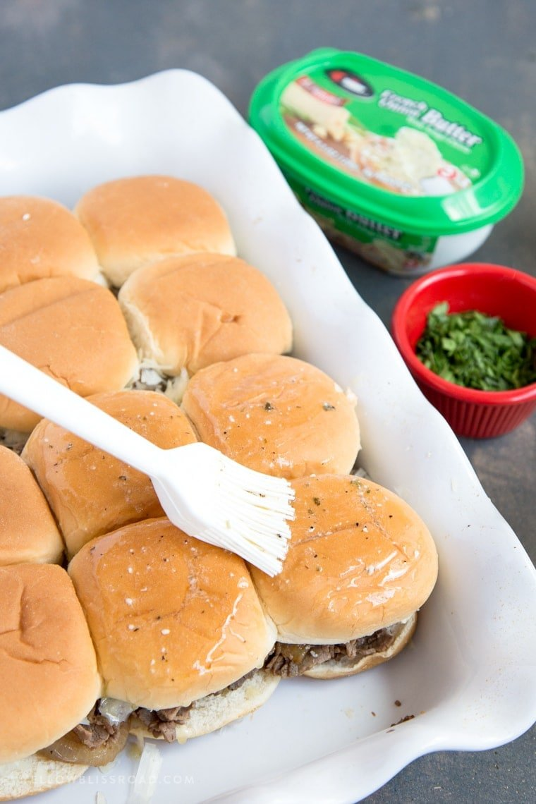 A dish of sliders