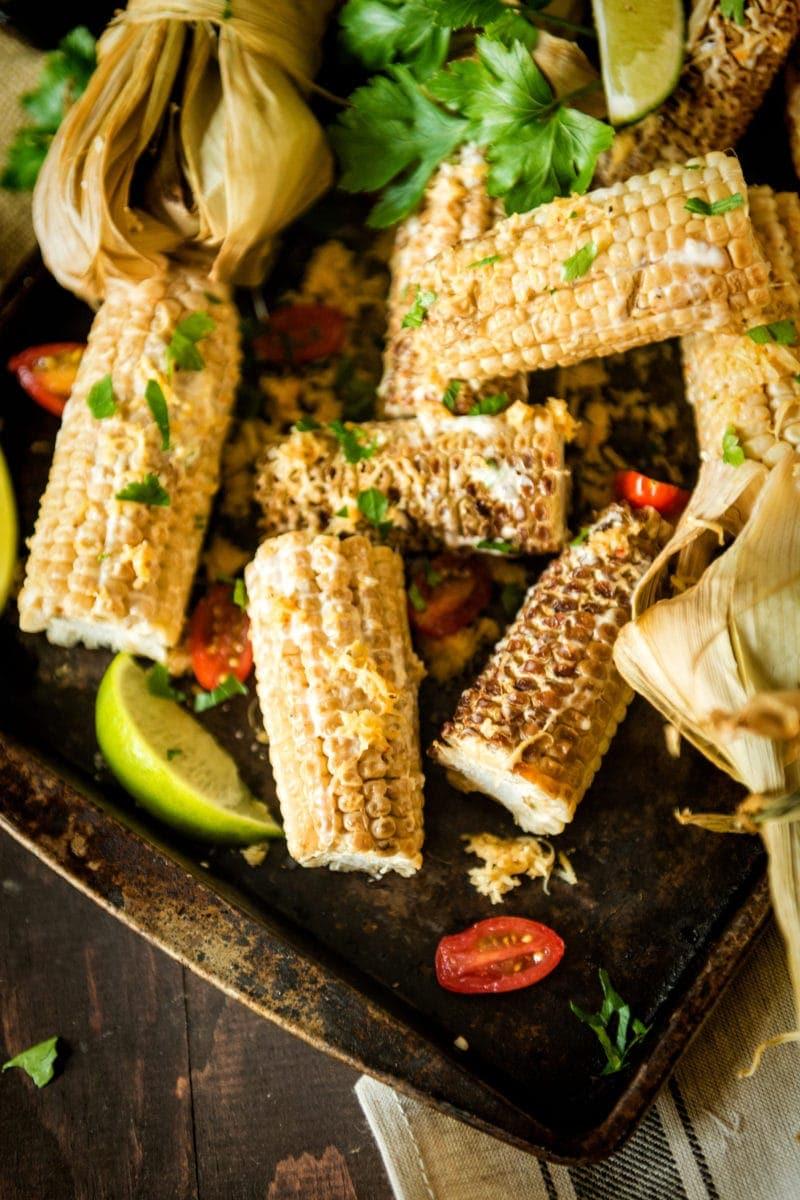 Corn on the cob on a pan