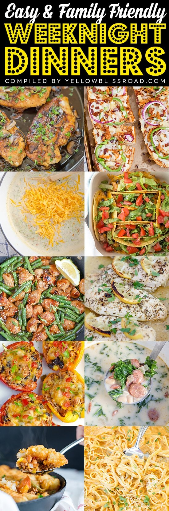 easy family friendly dinner recipes collage