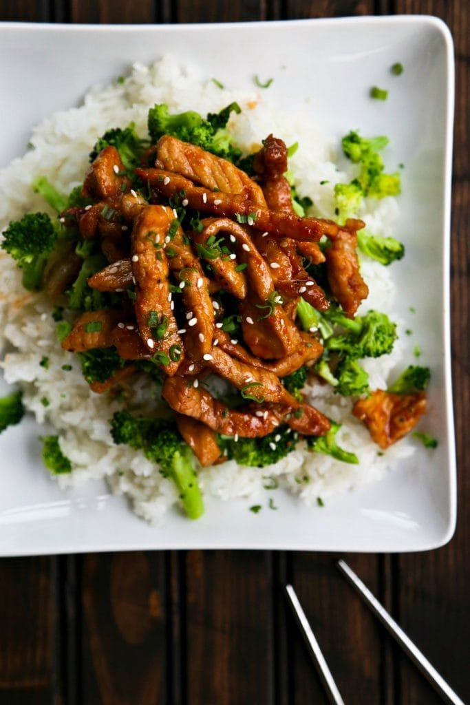 A plate of pork and rice