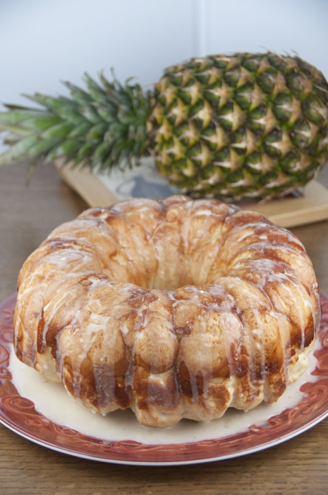 Monkey bread on a plate on a table