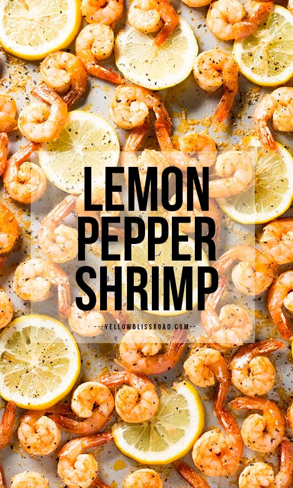 Lemon Pepper Shrimp from overhead with text on the image to make it pinterest friendly