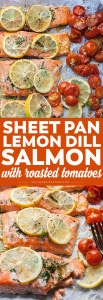 Sheet Pan Lemon and Dill Salmon with Roasted Tomatoes is a weeknight dinner dream but still impressive enough for a special occasion.