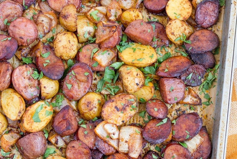 Smoked Sausage and Potato Sheet Pan Dinner