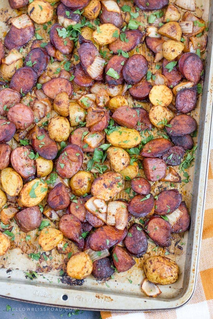 This Smoked Sausage and Potato Sheet Pan Dinner is an easy weeknight dinner idea that your whole family will enjoy!