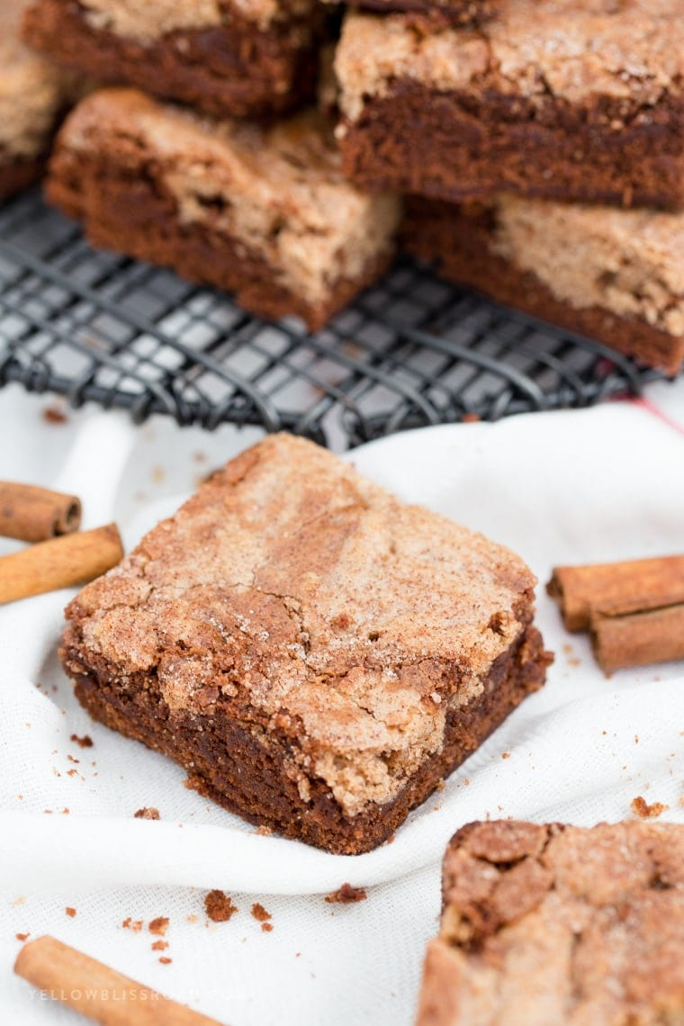 Snickerdoodle Brownies are the best of both worlds - fudgy, chocolatey brownies mixed with warm, cinnamon Snickerdoodles! It's the ultimate classic mash-up dessert!
