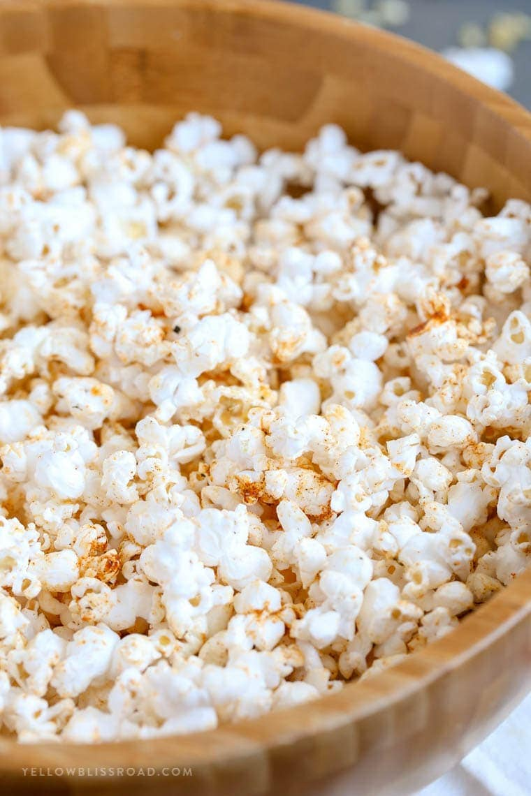 Hot Buttered Cajun Popcorn made with a Homemade Cajun Seasoning Blend