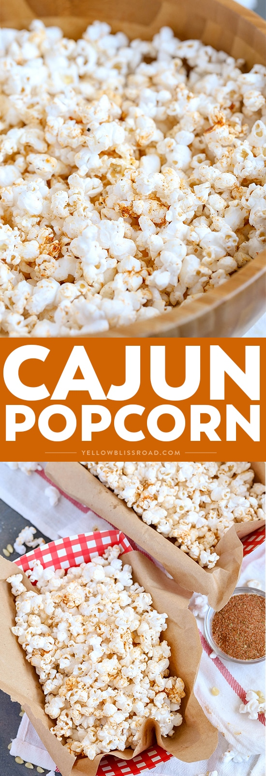 Cajun Popcorn with homemade cajun seasoning photo collage