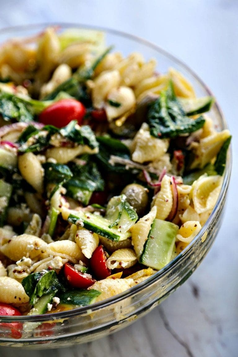 A dish is filled with Pasta Salad