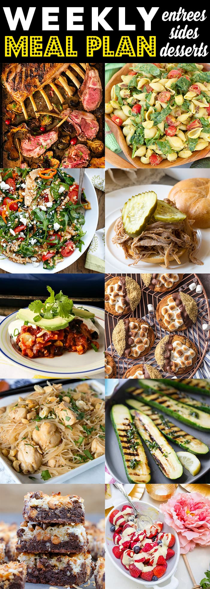 A collage of different meals