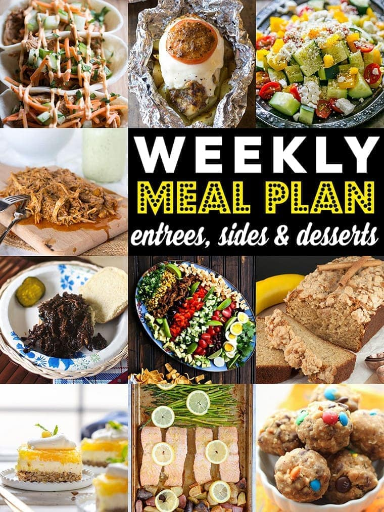 Weekly Meal Plan Week 80– 10 great bloggers bringing you a full week of recipes including dinner, sides dishes, and desserts!