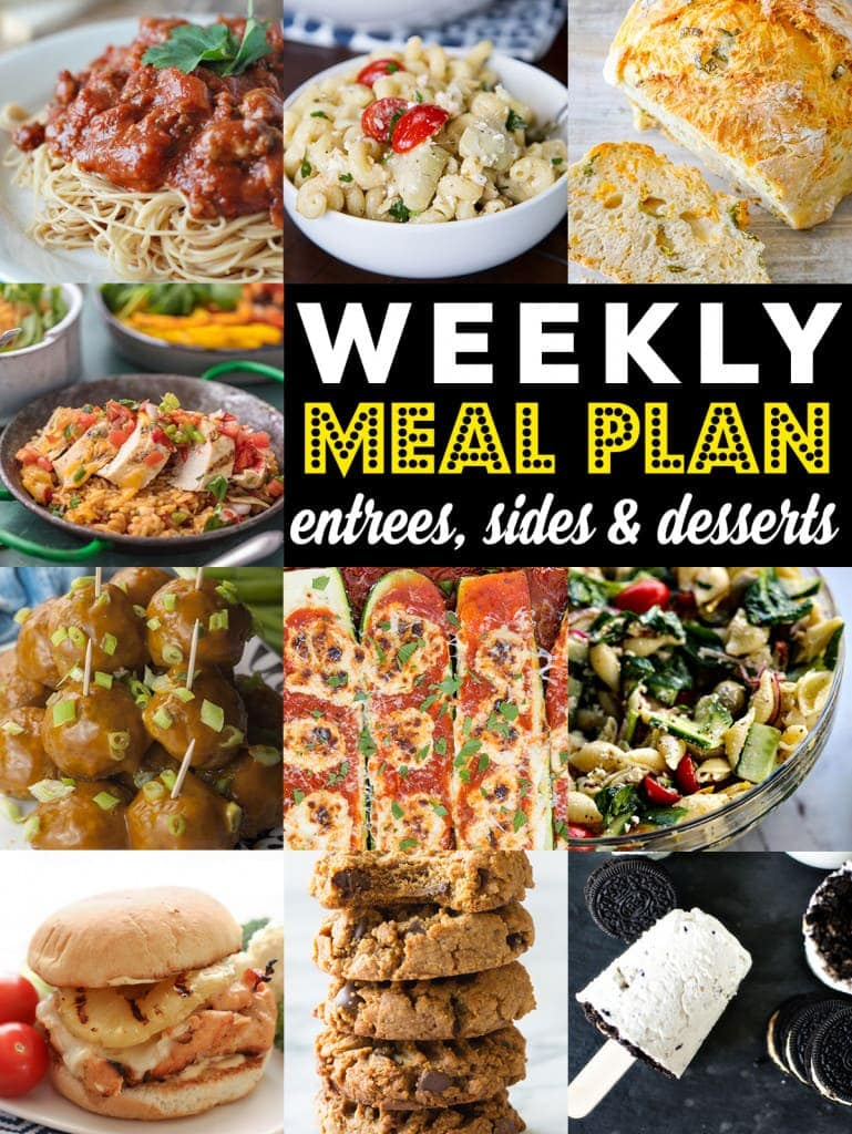Weekly Meal Plan Week 83– 10 great bloggers bringing you a full week of recipes including dinner, sides dishes, and desserts!