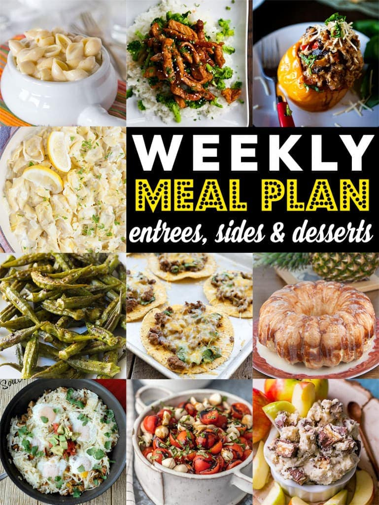 Weekly Meal Plan Week 84– 10 great bloggers bringing you a full week of recipes including dinner, sides dishes, and desserts!