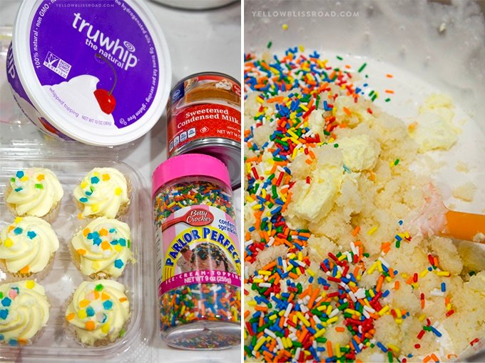 2 images showing ingredients for no churn birthday cake ice cream