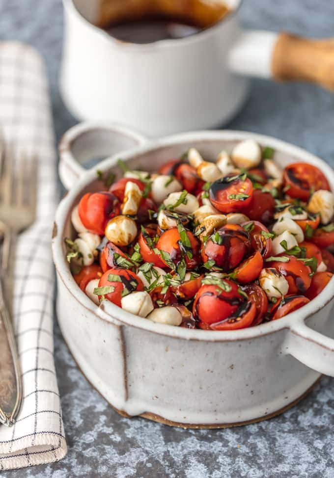A bowl of Caprese salad