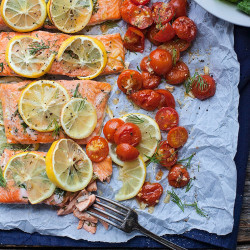 Sheet Pan Lemon Dill Salmon with Roasted Tomatoes