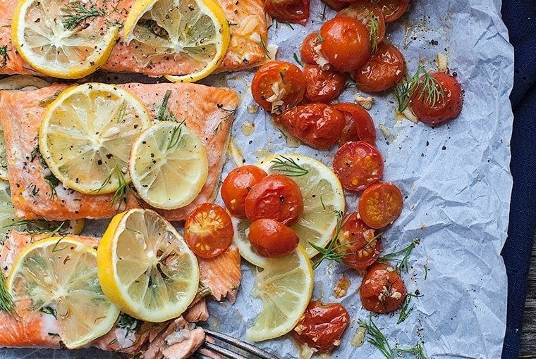Sheet Pan Lemon Dill Salmon with Roasted Tomatoes