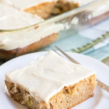 Social media image of apple spice cake